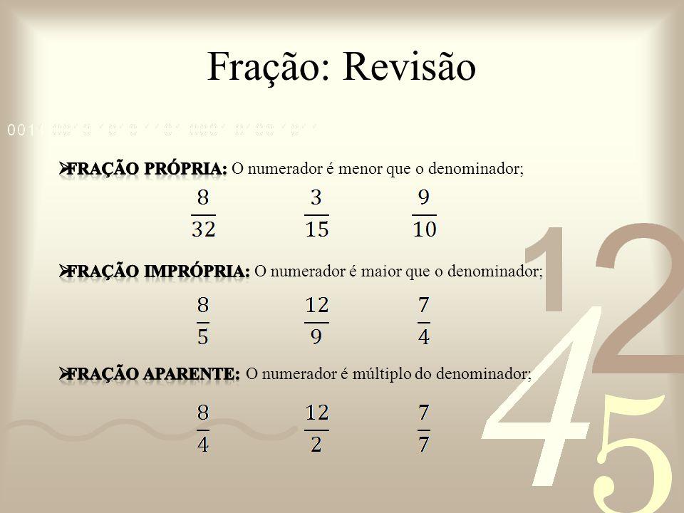 Fração: Revisão fração própria: O numerador é menor que o denominador;