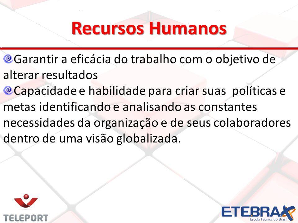Recursos Humanos Garantir a eficácia do trabalho com o objetivo de alterar resultados.