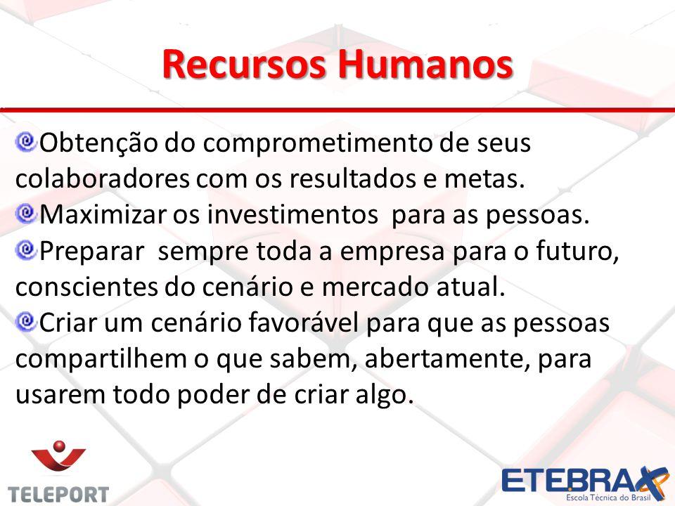 Recursos Humanos Obtenção do comprometimento de seus colaboradores com os resultados e metas. Maximizar os investimentos para as pessoas.