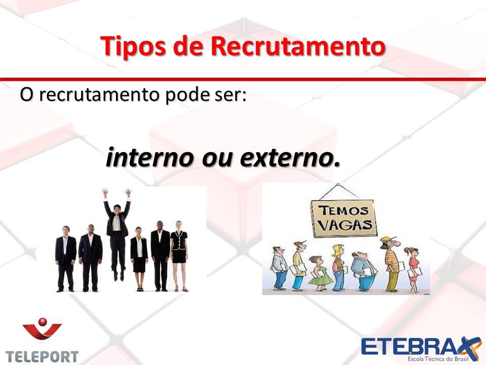 Tipos de Recrutamento interno ou externo.