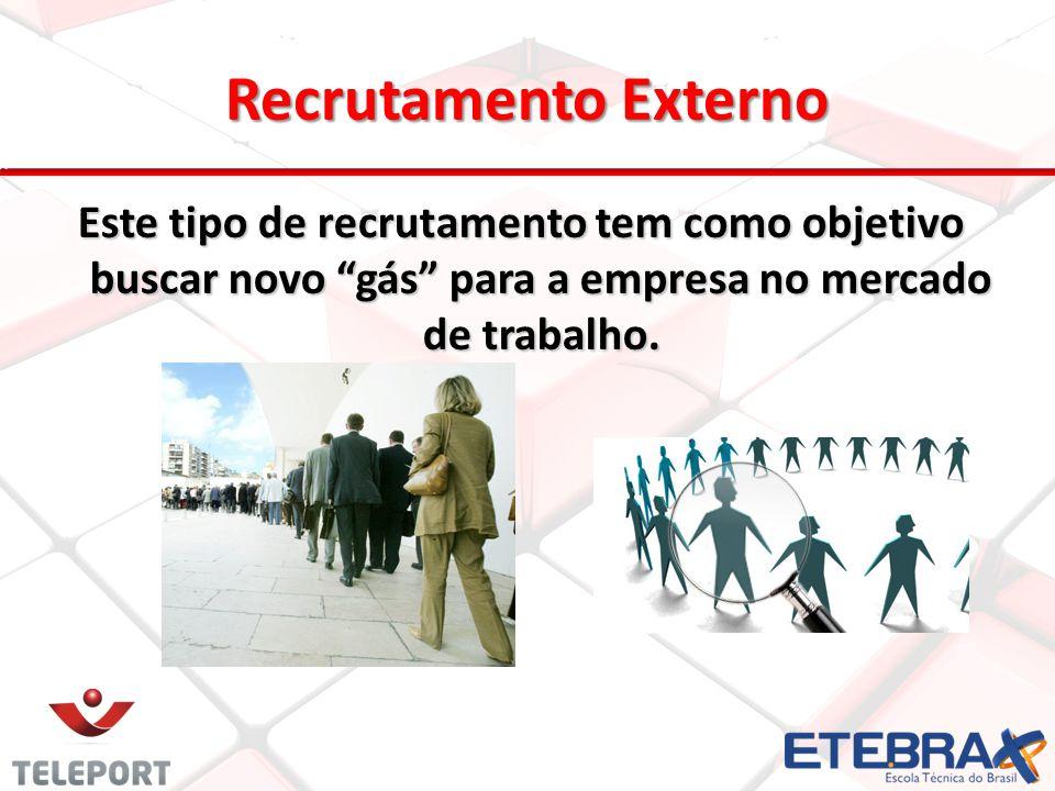 Recrutamento Externo Este tipo de recrutamento tem como objetivo buscar novo gás para a empresa no mercado de trabalho.