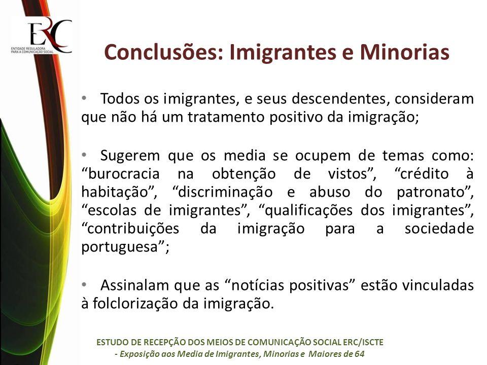 Conclusões: Imigrantes e Minorias