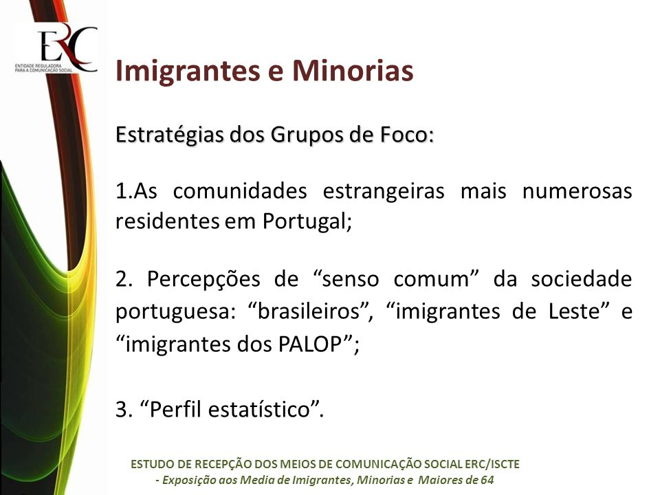 Imigrantes e Minorias Estratégias dos Grupos de Foco: