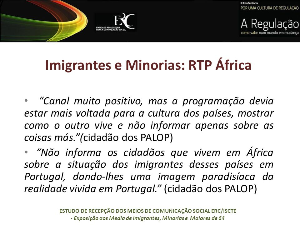 Imigrantes e Minorias: RTP África