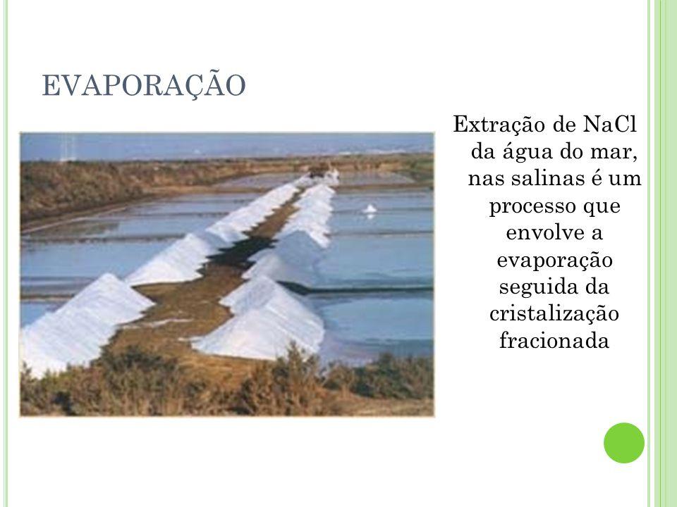 EVAPORAÇÃO Extração de NaCl da água do mar, nas salinas é um processo que envolve a evaporação seguida da cristalização fracionada.