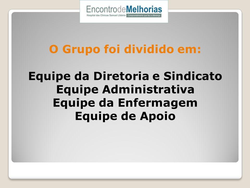 O Grupo foi dividido em: Equipe da Diretoria e Sindicato Equipe Administrativa Equipe da Enfermagem Equipe de Apoio