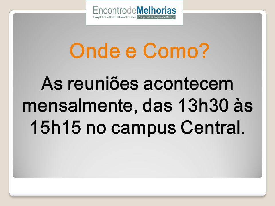 Onde e Como As reuniões acontecem mensalmente, das 13h30 às 15h15 no campus Central.