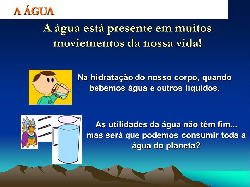 Na hidratação do nosso corpo, quando bebemos água e outros líquidos.
