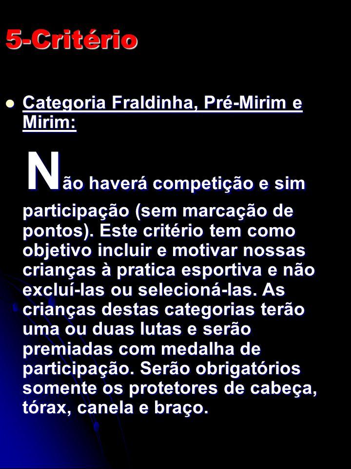 5-Critério Categoria Fraldinha, Pré-Mirim e Mirim: