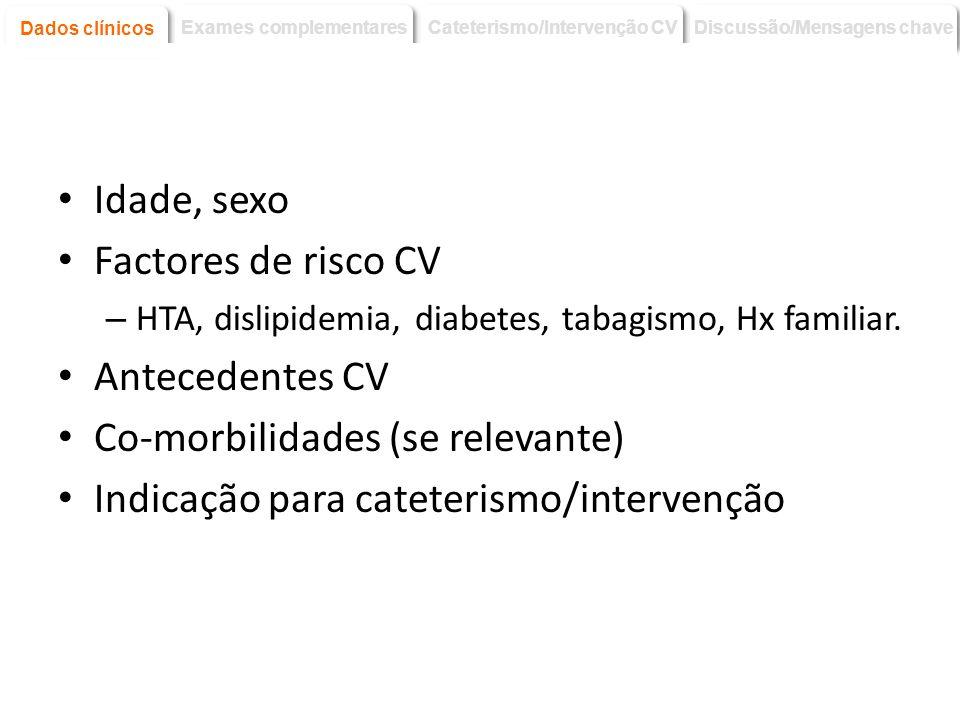Co-morbilidades (se relevante) Indicação para cateterismo/intervenção
