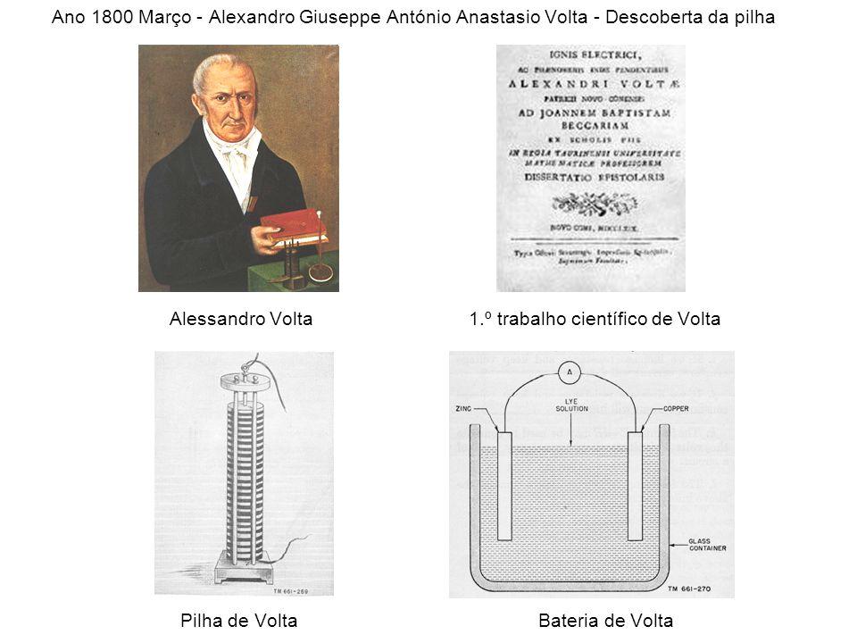 Ano 1800 Março - Alexandro Giuseppe António Anastasio Volta - Descoberta da pilha