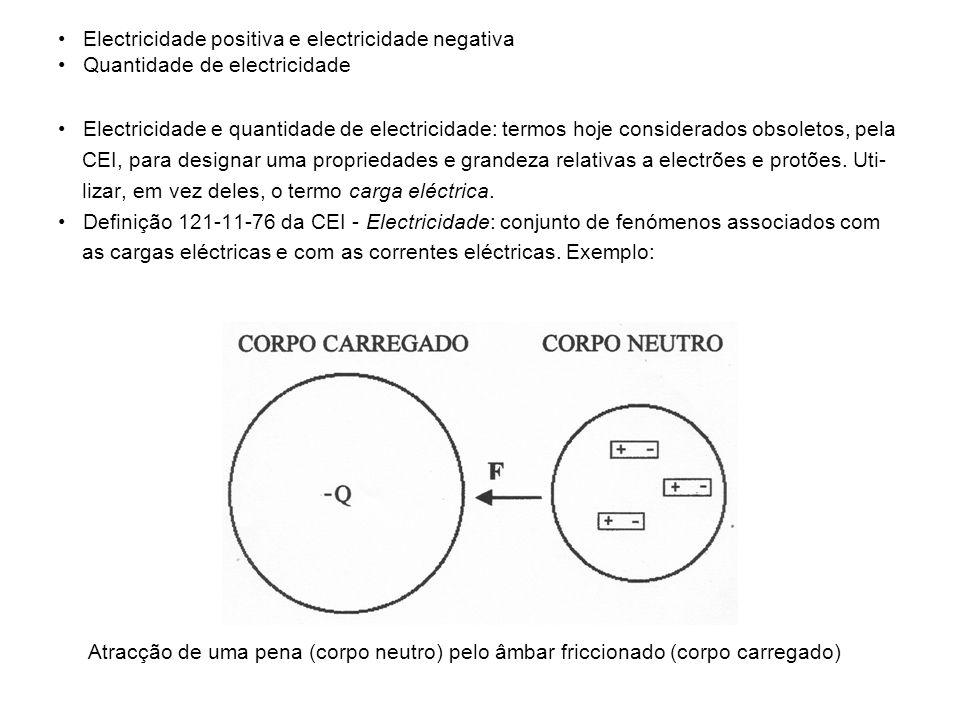 • Electricidade positiva e electricidade negativa • Quantidade de electricidade