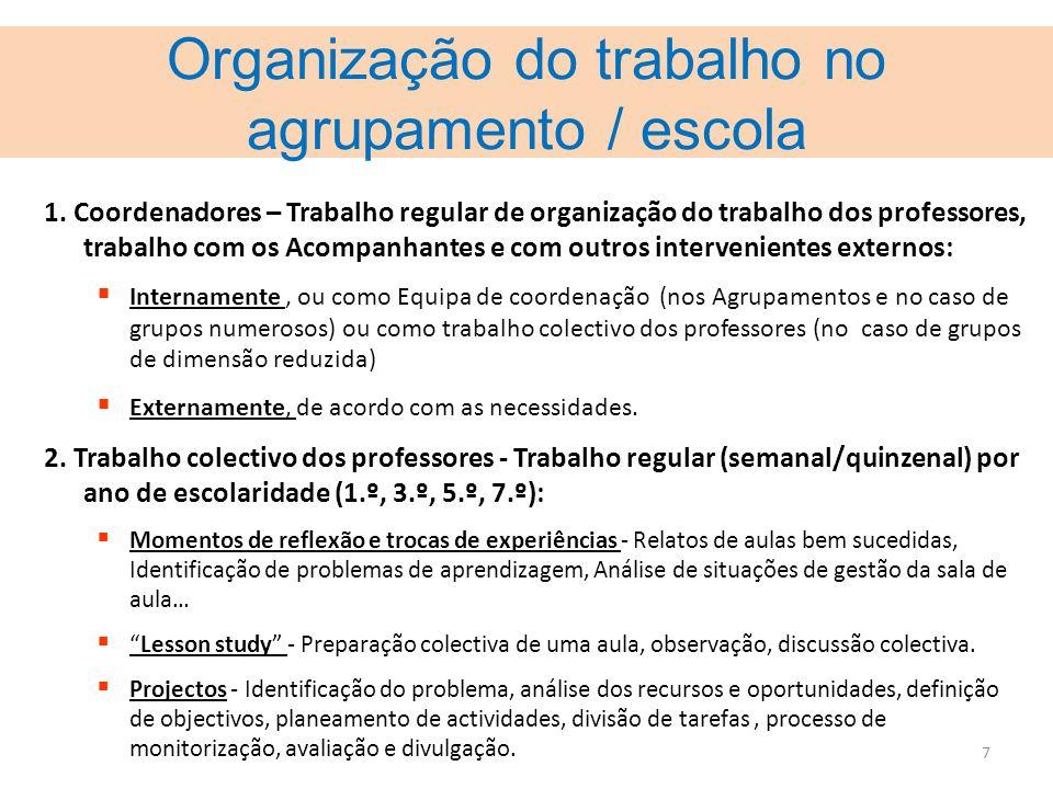 Organização do trabalho no agrupamento / escola