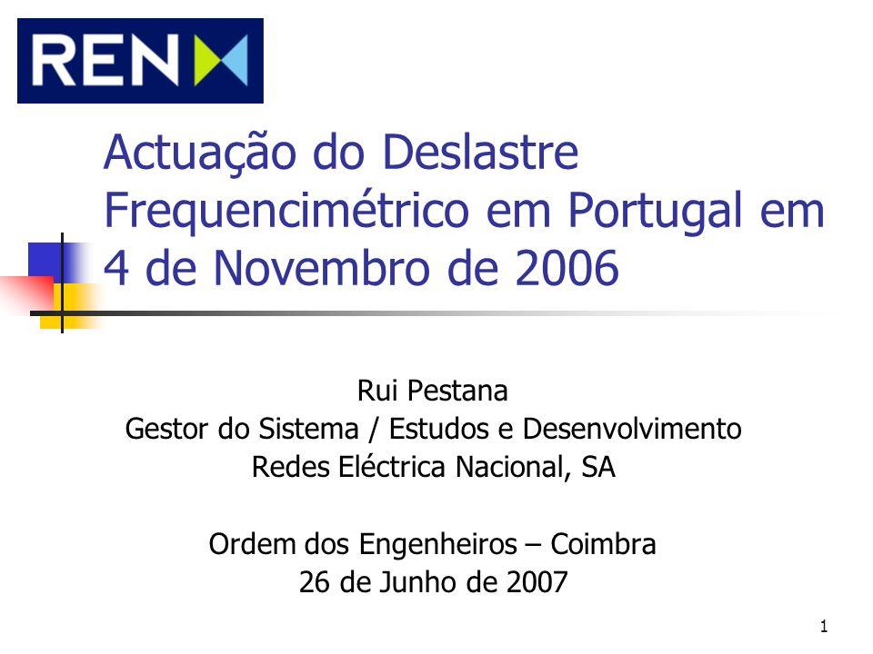 Actuação do Deslastre Frequencimétrico em Portugal em 4 de Novembro de 2006