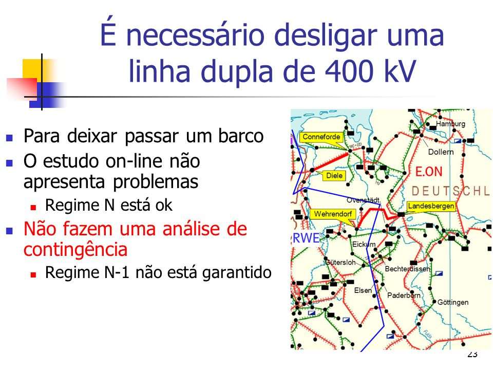 É necessário desligar uma linha dupla de 400 kV
