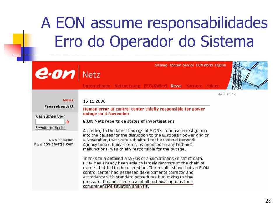 A EON assume responsabilidades Erro do Operador do Sistema
