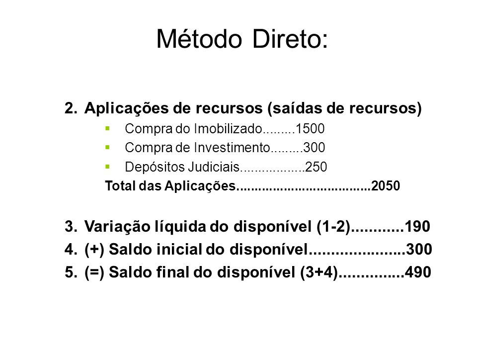 Método Direto: Aplicações de recursos (saídas de recursos)