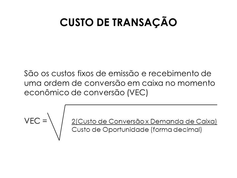 CUSTO DE TRANSAÇÃO São os custos fixos de emissão e recebimento de uma ordem de conversão em caixa no momento econômico de conversão (VEC)