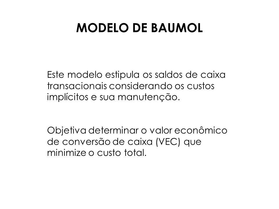 MODELO DE BAUMOL Este modelo estipula os saldos de caixa transacionais considerando os custos implícitos e sua manutenção.