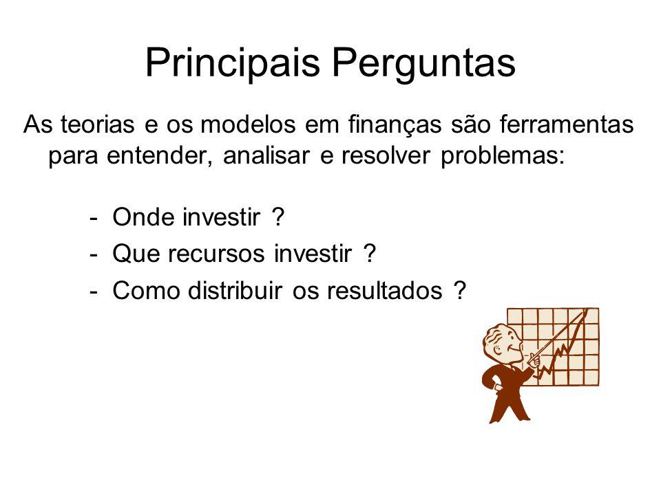 Principais Perguntas As teorias e os modelos em finanças são ferramentas para entender, analisar e resolver problemas: