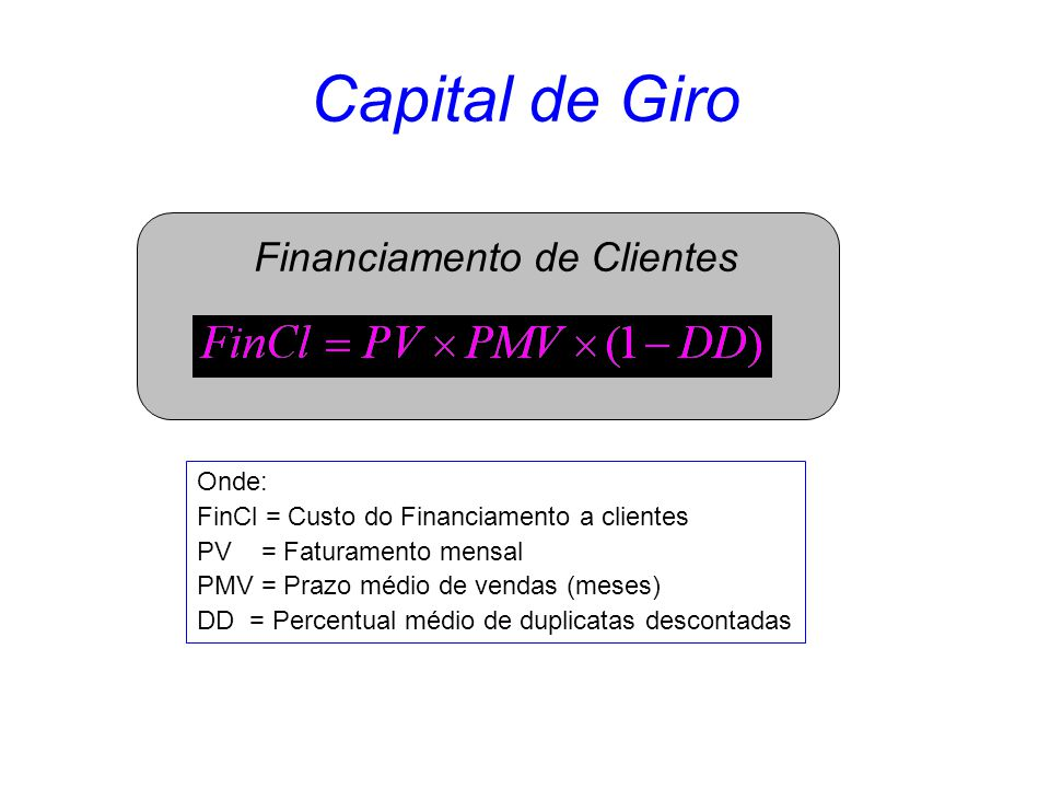 Capital de Giro Financiamento de Clientes Onde: