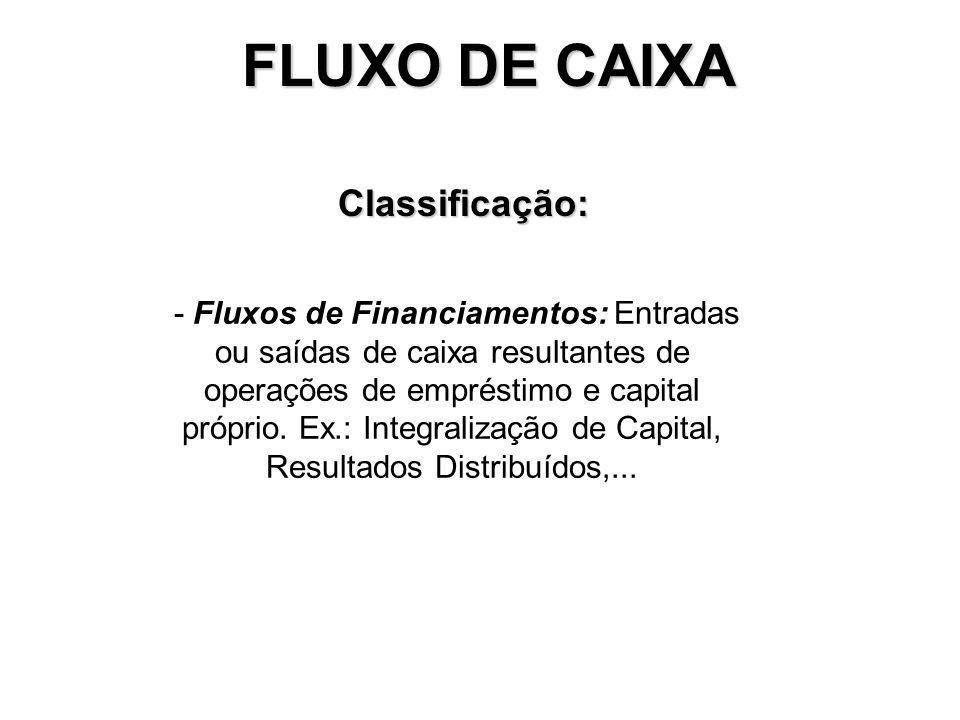 FLUXO DE CAIXA Classificação: