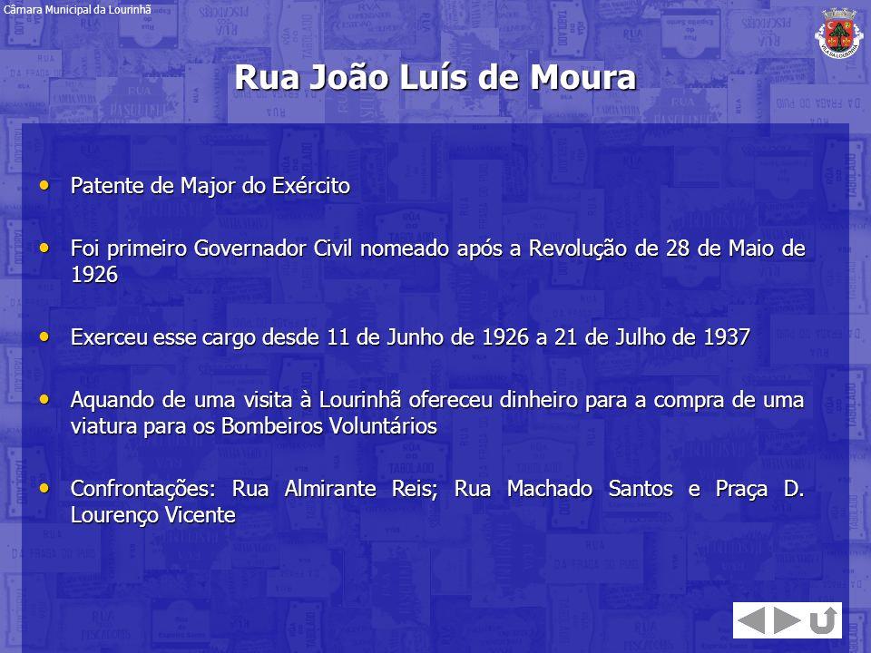 Rua João Luís de Moura Patente de Major do Exército