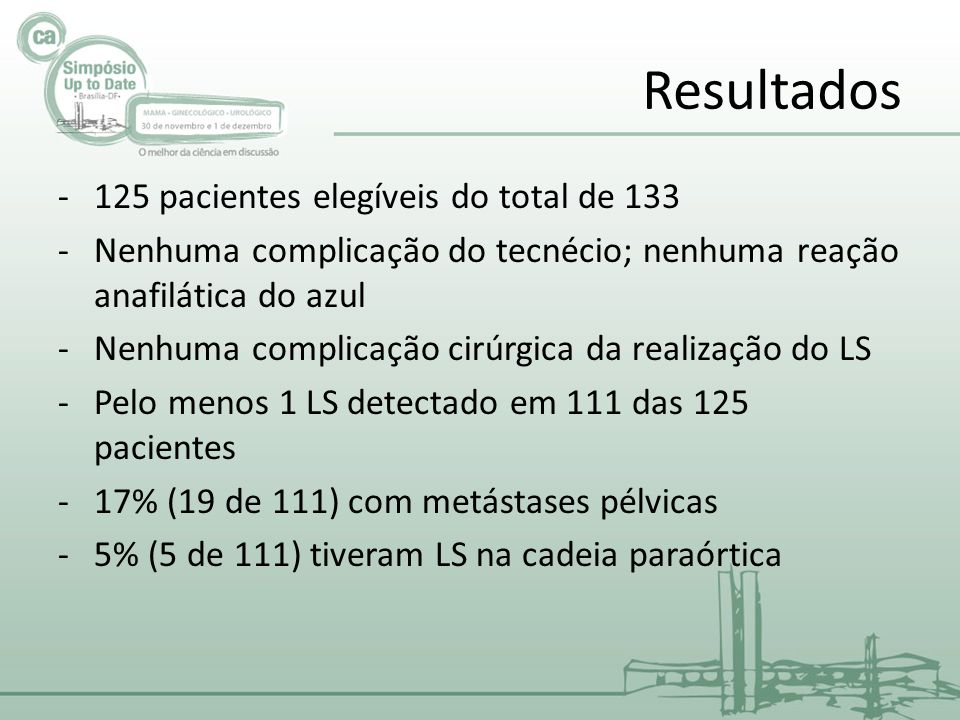 Resultados 125 pacientes elegíveis do total de 133