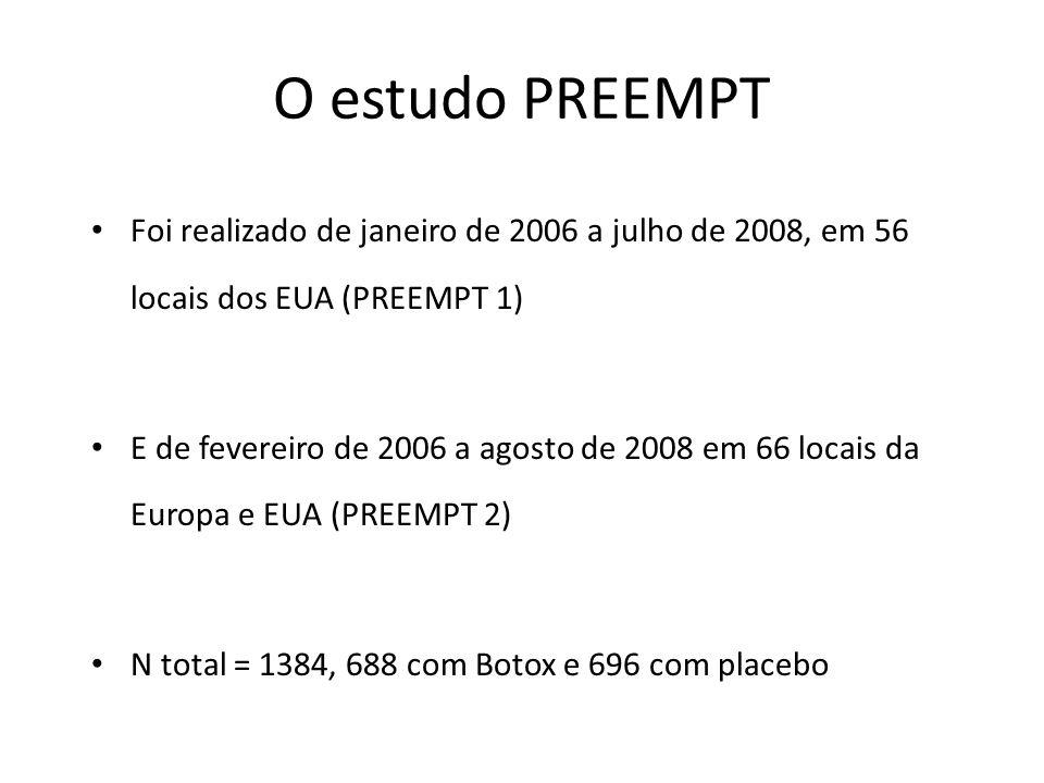 O estudo PREEMPT Foi realizado de janeiro de 2006 a julho de 2008, em 56 locais dos EUA (PREEMPT 1)