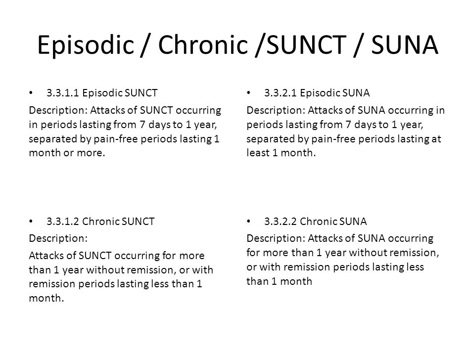 Episodic / Chronic /SUNCT / SUNA