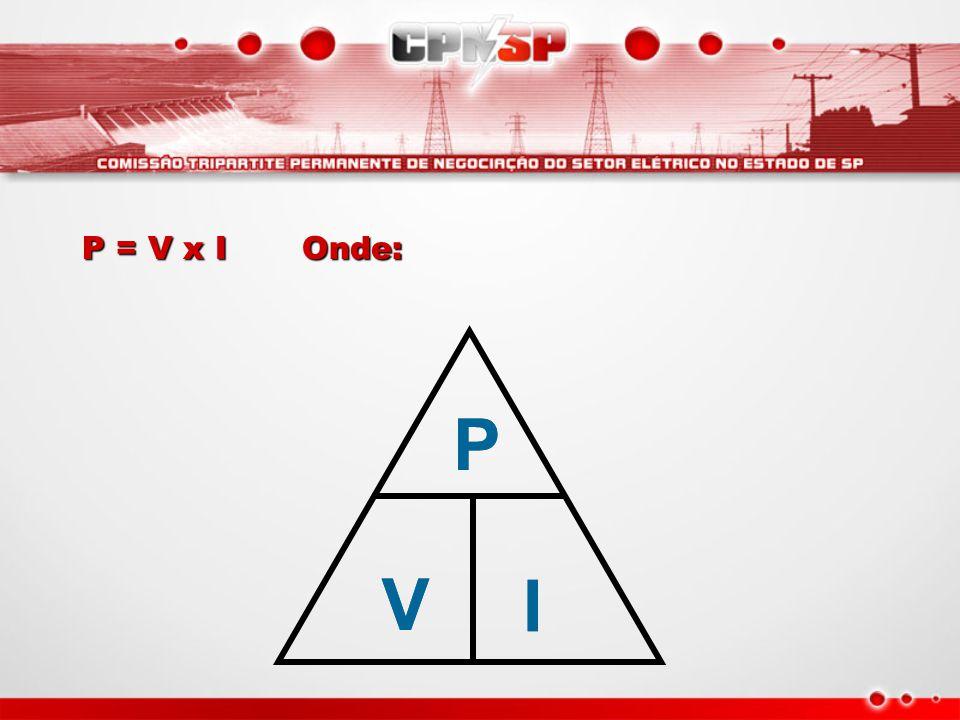 P = V x I Onde: P V I