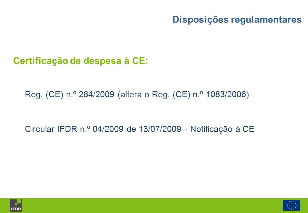 Certificação de despesa à CE: