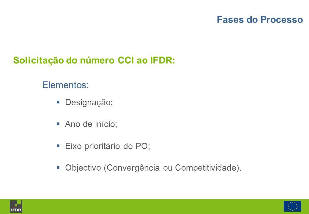 Solicitação do número CCI ao IFDR: