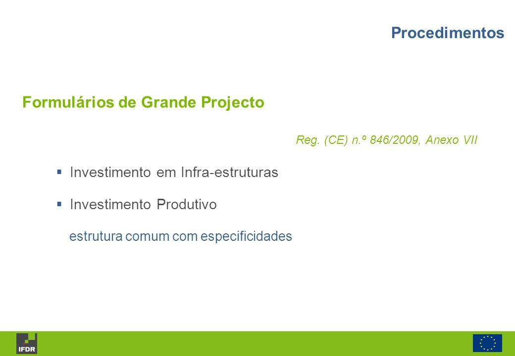 Formulários de Grande Projecto