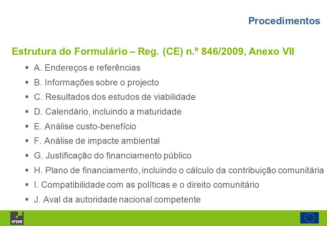 Estrutura do Formulário – Reg. (CE) n.º 846/2009, Anexo VII