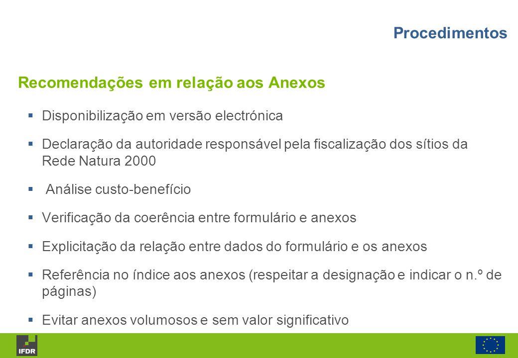 Recomendações em relação aos Anexos