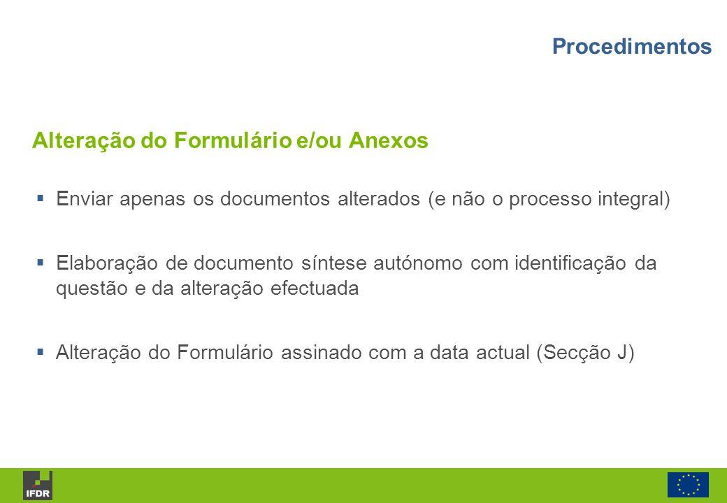 Alteração do Formulário e/ou Anexos