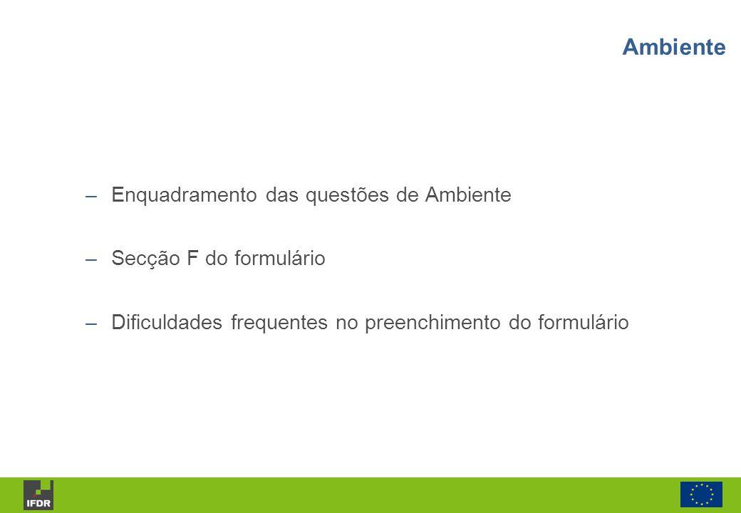 Ambiente Enquadramento das questões de Ambiente Secção F do formulário