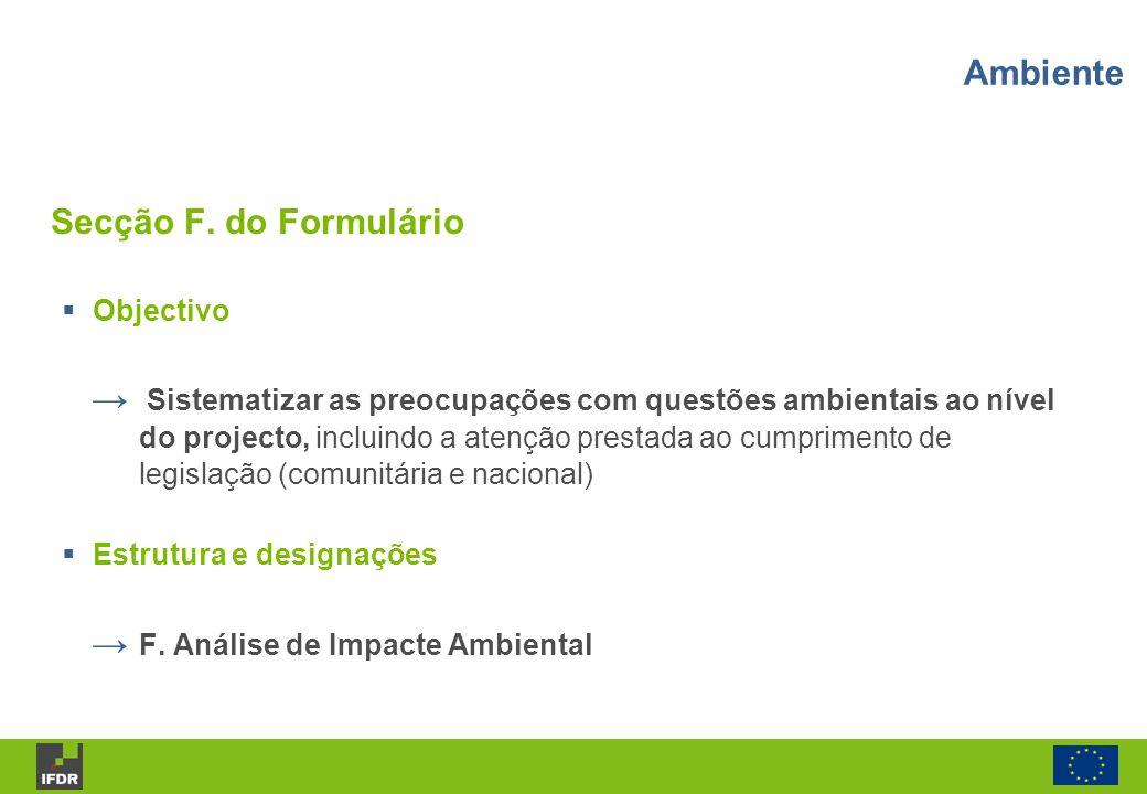 Ambiente Secção F. do Formulário Objectivo