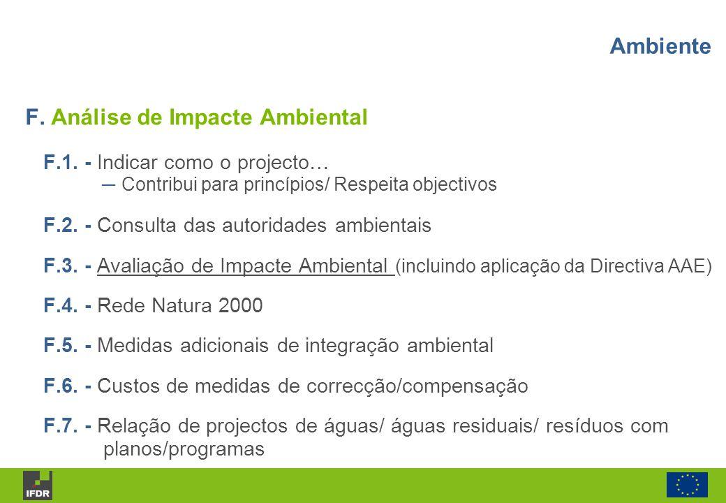 F. Análise de Impacte Ambiental