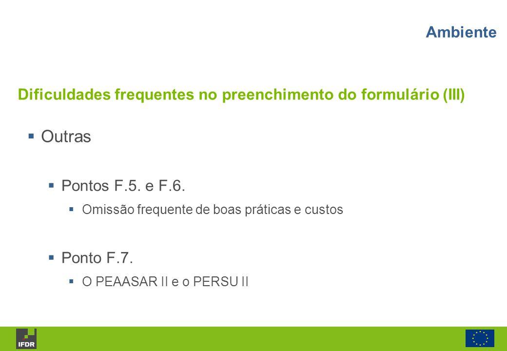 Dificuldades frequentes no preenchimento do formulário (III)