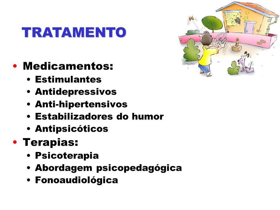 TRATAMENTO Medicamentos: Terapias: Estimulantes Antidepressivos