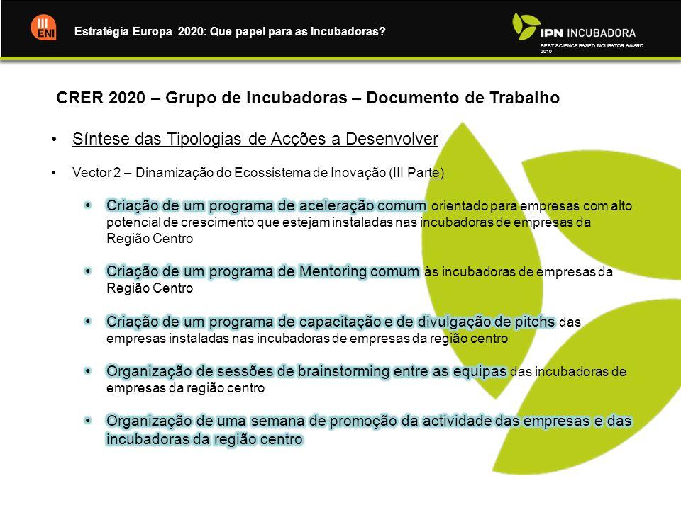 CRER 2020 – Grupo de Incubadoras – Documento de Trabalho