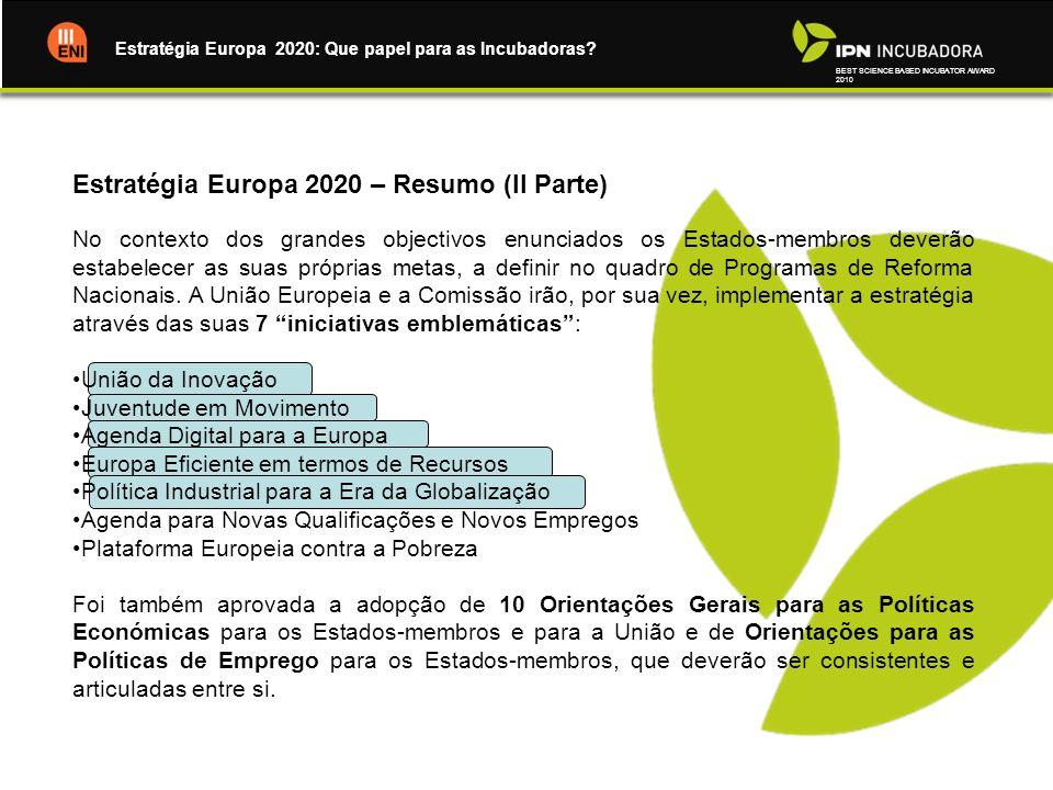Estratégia Europa 2020 – Resumo (II Parte)
