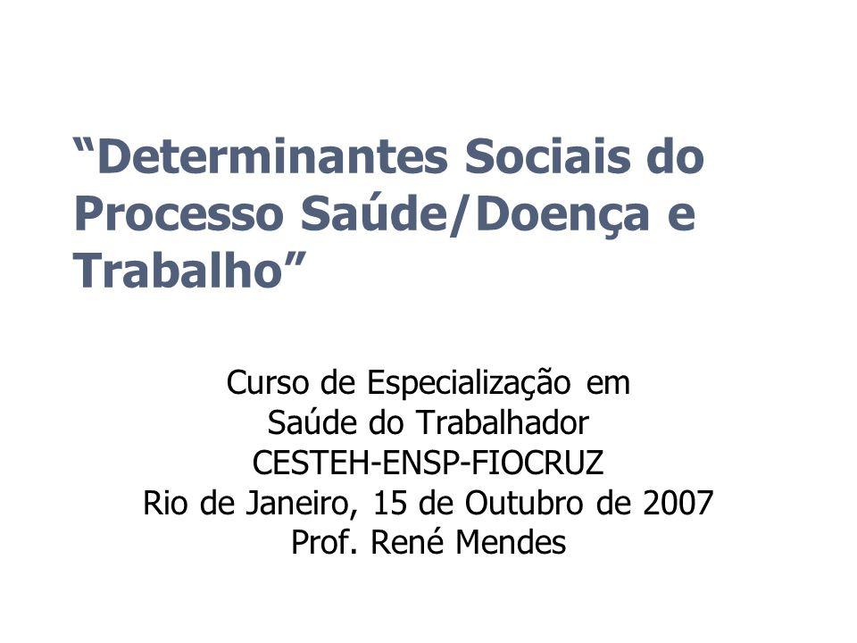 Determinantes Sociais do Processo Saúde/Doença e Trabalho