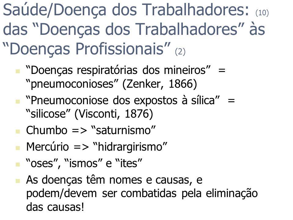 Saúde/Doença dos Trabalhadores: (10) das Doenças dos Trabalhadores às Doenças Profissionais (2)