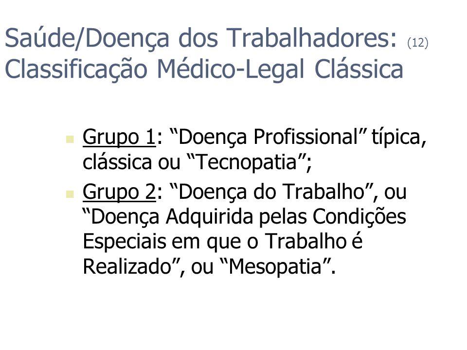Saúde/Doença dos Trabalhadores: (12) Classificação Médico-Legal Clássica