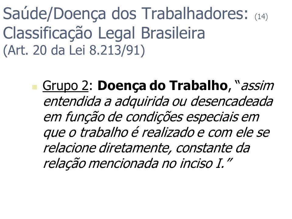 Saúde/Doença dos Trabalhadores: (14) Classificação Legal Brasileira (Art. 20 da Lei 8.213/91)