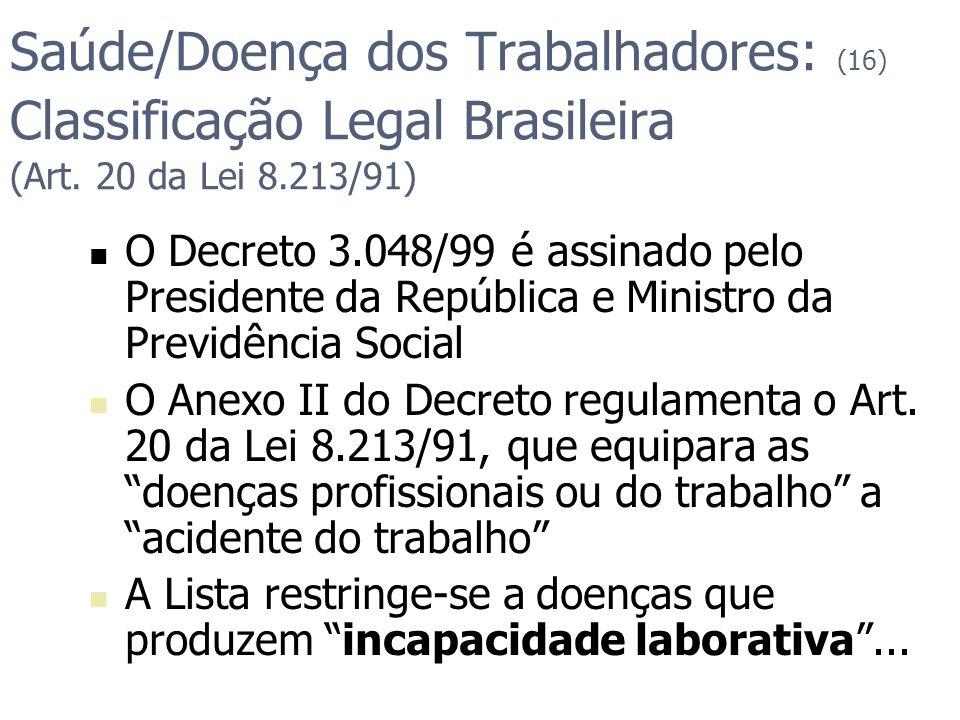 Saúde/Doença dos Trabalhadores: (16) Classificação Legal Brasileira (Art. 20 da Lei 8.213/91)