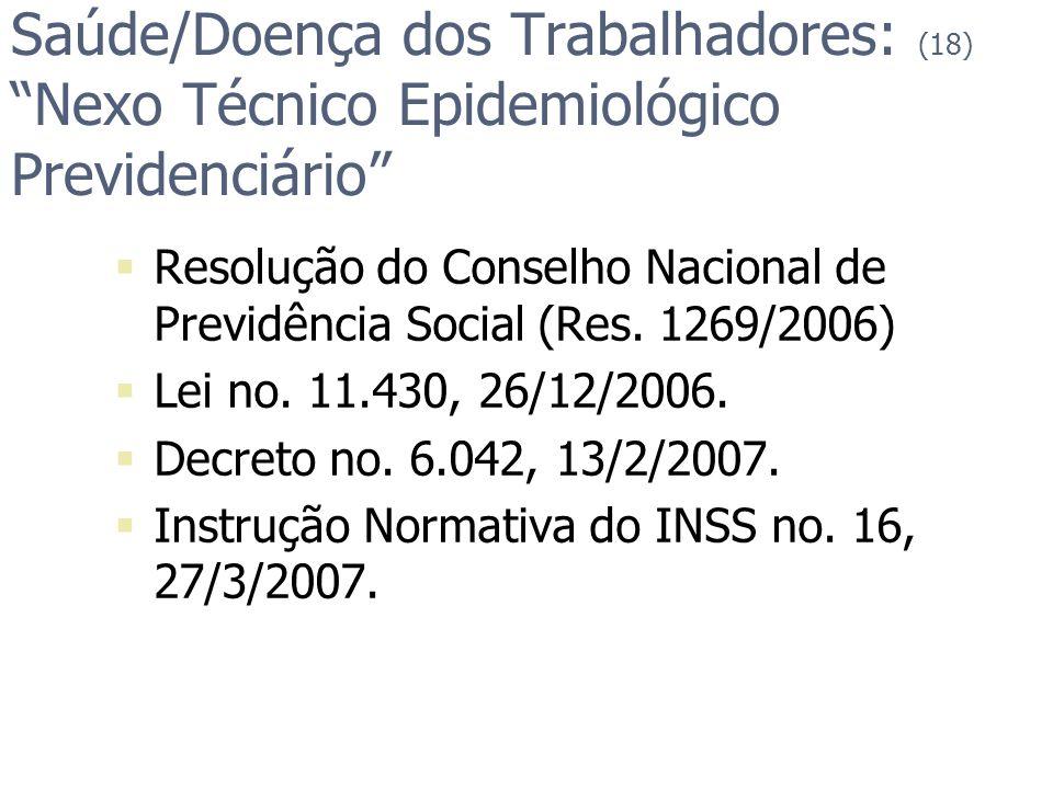 Saúde/Doença dos Trabalhadores: (18) Nexo Técnico Epidemiológico Previdenciário